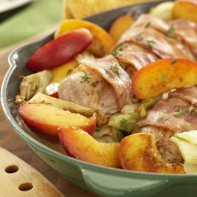 Pan-Fried Tenderloin with Fennel and Caramelized Peaches