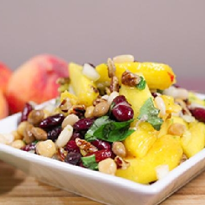 Ontario Peaches, Roasted Pecans and Bean Salad
