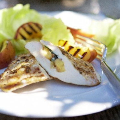 Ontario Peach and Brie Cheese Stuffed Chicken Breast