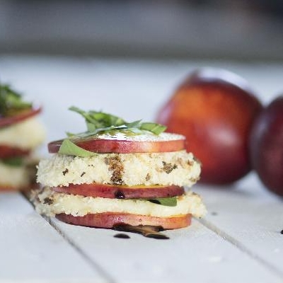 Ontario Nectarine, Basil and Fried Mozzarella Stacks