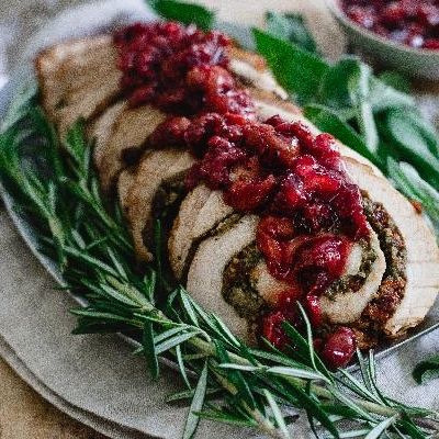 Tart Cherry Chestnut Stuffed Turkey Roulade