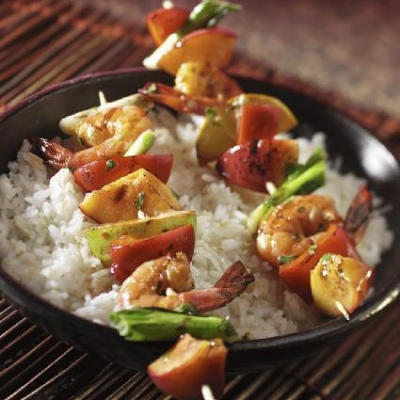 Thai Shrimp and Ontario Peach Skewers