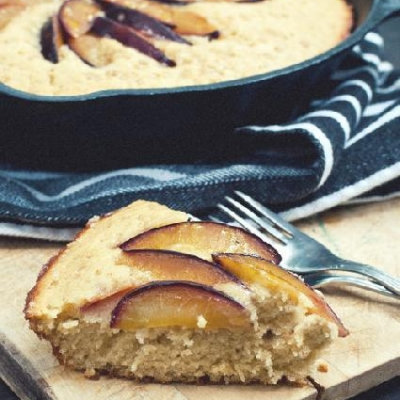 Brown Butter Blue Plum Skillet Cake
