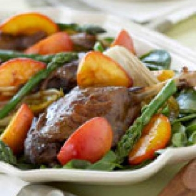 Duck Confit with Caramelized Ontario Peaches