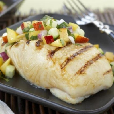 Halibut with Zesty Ontario Peach Salsa